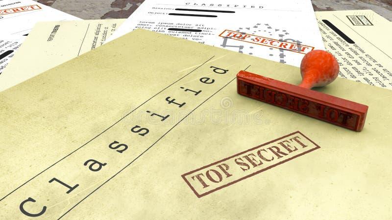 Сверхсекретный документ, штемпель, рассекречиванная, конфиденциальная информация, секретный текст данные по Не-публики иллюстрация вектора