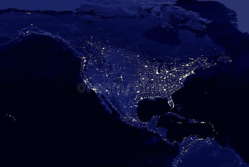 Света американского материка электрические составляют карту вечером Света города Карта севера и Центральной Америки Взгляд от кос стоковые изображения rf