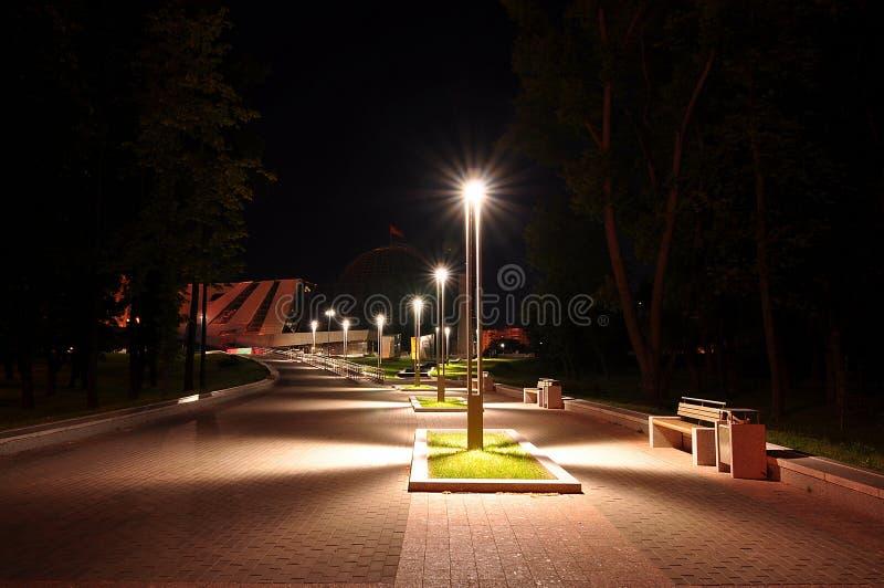 Света в парке ночи стоковая фотография rf