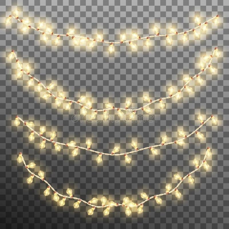 Света гирлянды рождества на прозрачной предпосылке Вектор EPS 10 бесплатная иллюстрация