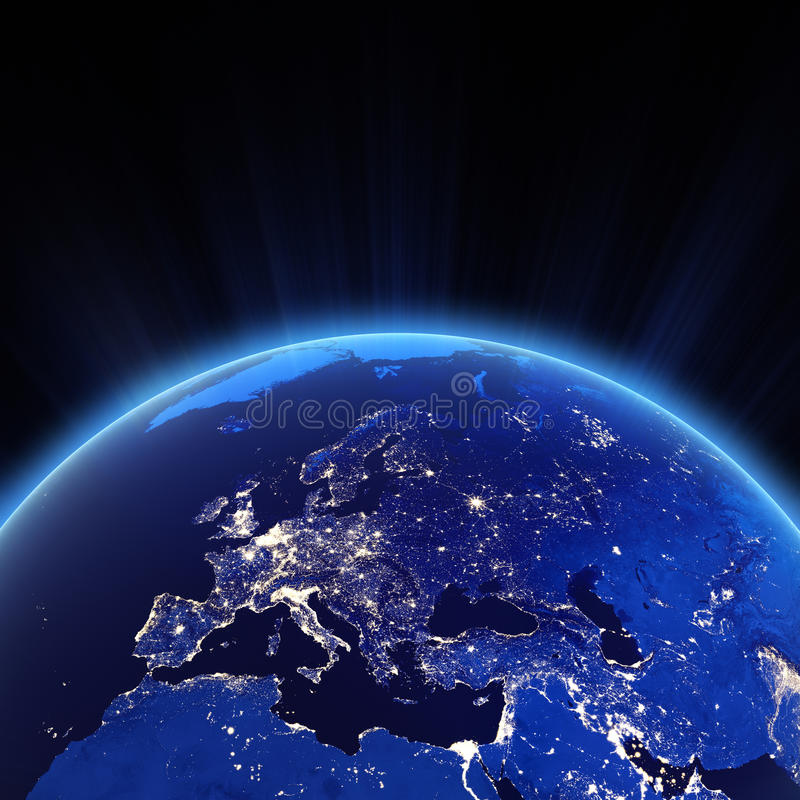 Света города Европы на ноче иллюстрация вектора