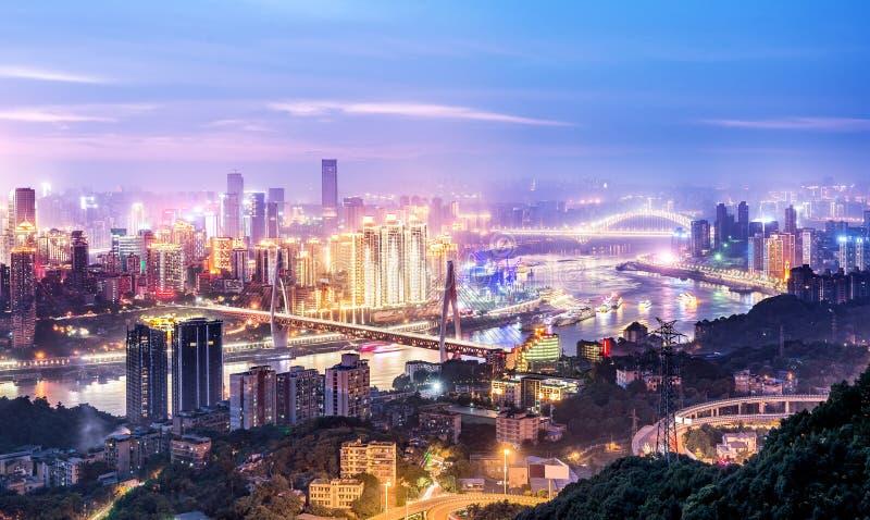 Света города Китая Чунцина стоковое фото rf