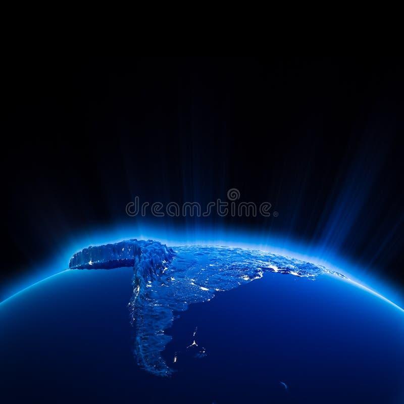 Света города Южной Америки на ноче иллюстрация штока