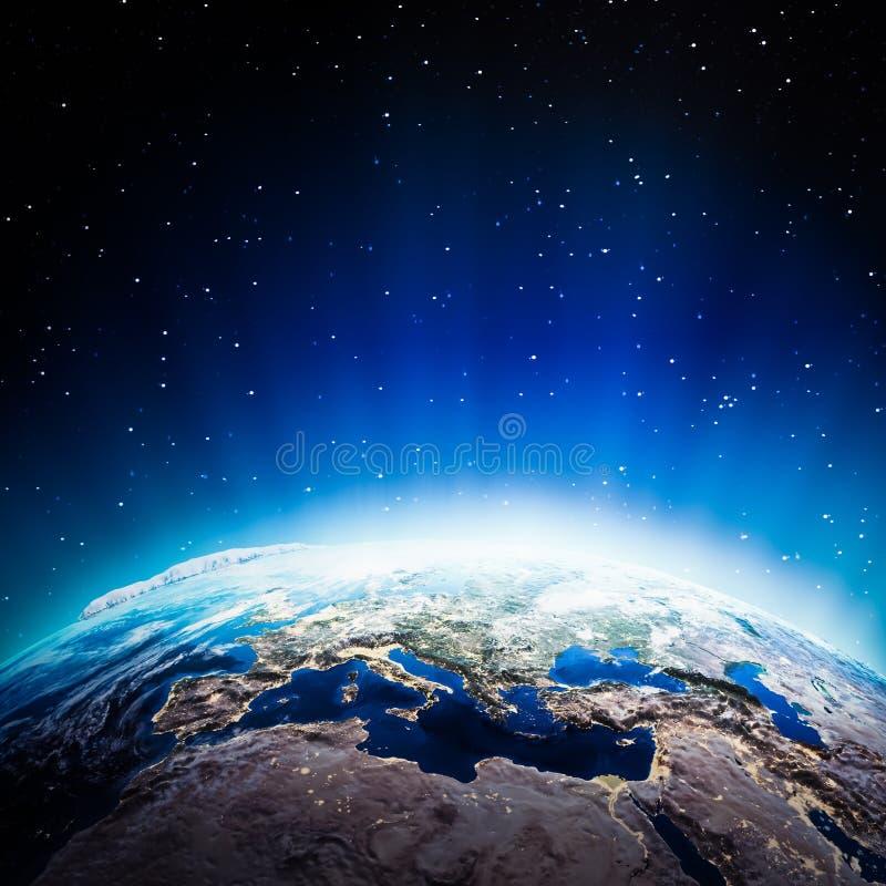 Света Европы на ноче иллюстрация вектора