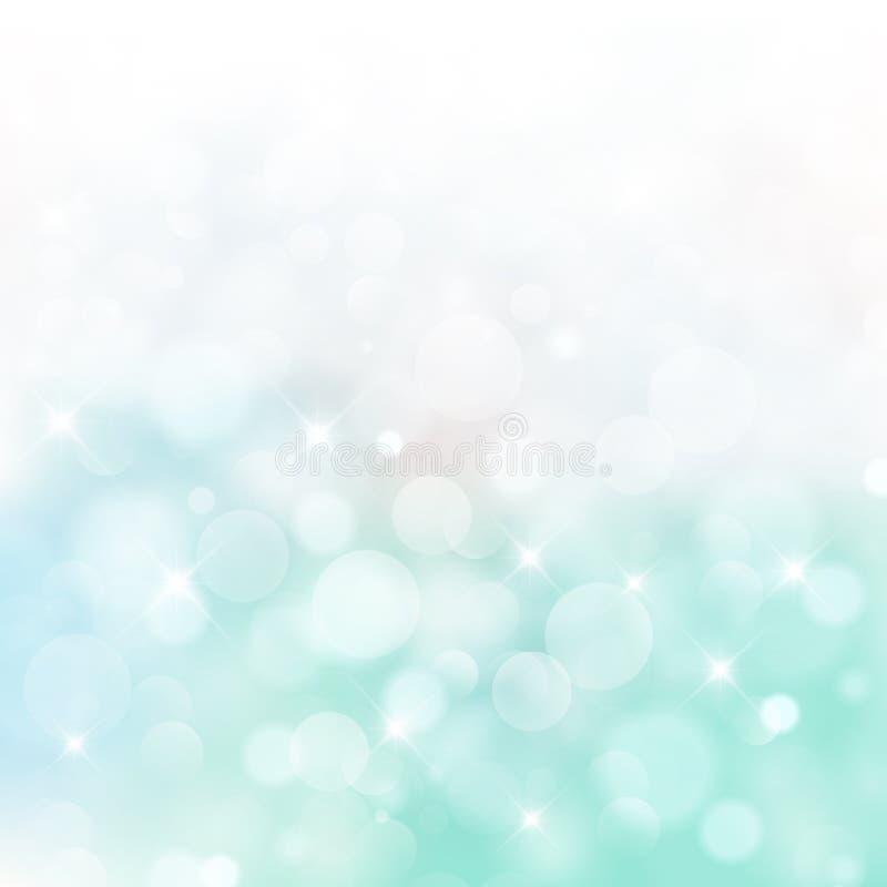 Света на голубом и зеленом круге bokeh предпосылки bluured, вектор бесплатная иллюстрация