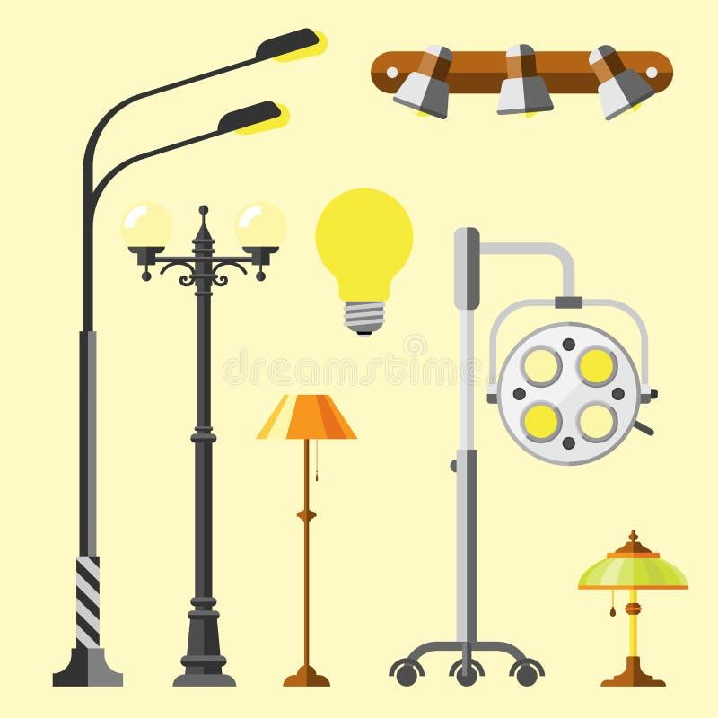 Света плоской электрической улицы лампы города фонарика городские приспосабливая вектор электричества электрической лампочки техн бесплатная иллюстрация