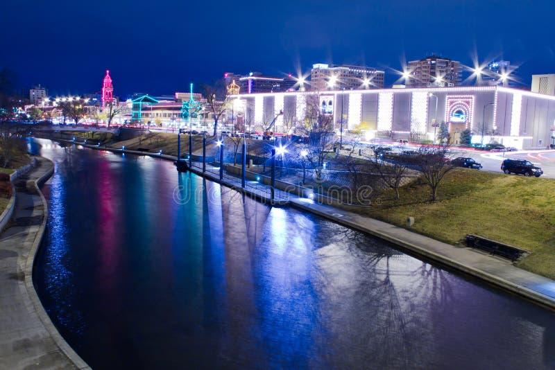 Света площади Kansas City стоковая фотография rf