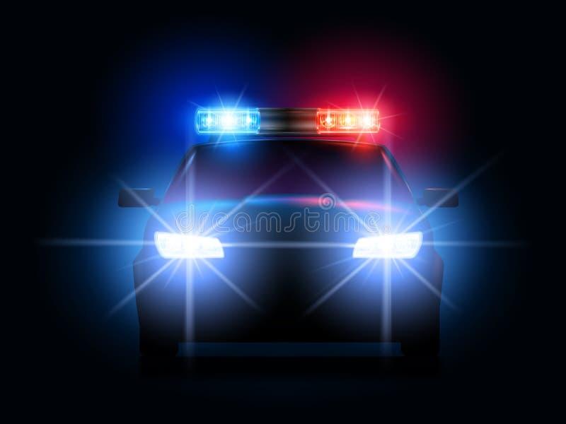 Света полицейской машины Фары и светосигнализаторы автомобилей шерифа безопасностью, аварийный свет сирены и безопасный вектор пе бесплатная иллюстрация