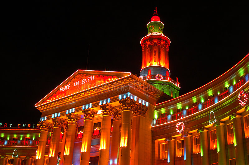 света праздника denver графства города здания стоковые изображения rf
