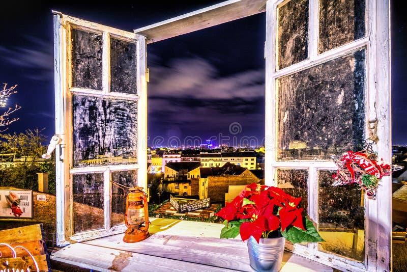 Света рождества взгляда окна Загреба пришествия стоковая фотография rf