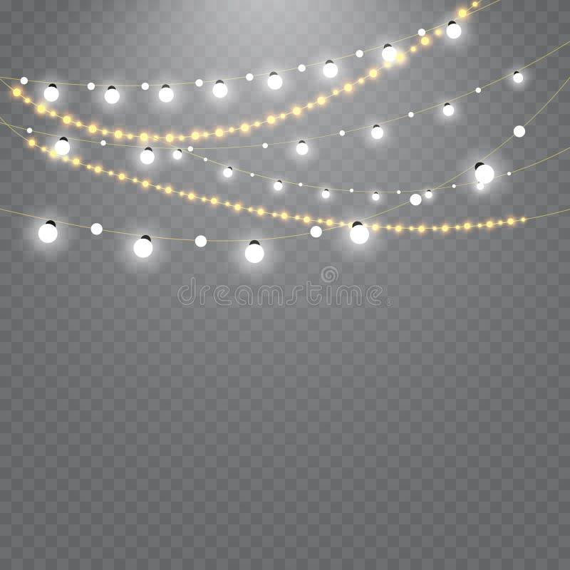 Света рождества изолированные на прозрачной предпосылке Комплект золотой гирлянды xmas накаляя также вектор иллюстрации притяжки
