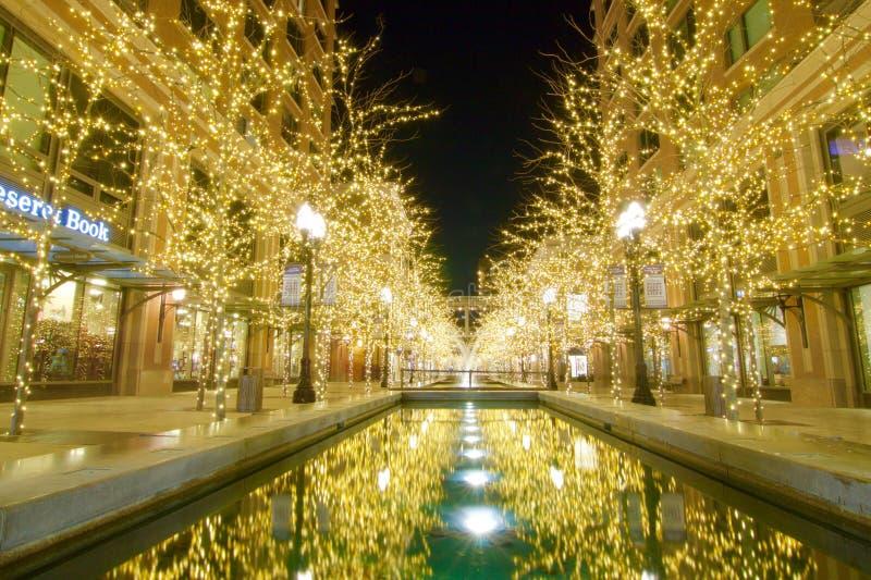 Света рождества на заводи города в городском Солт-Лейк-Сити стоковые изображения rf