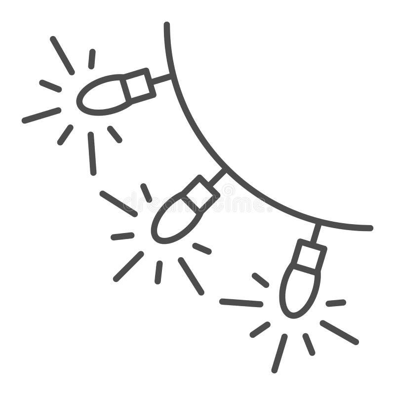 Света рождества утончают линию значок Светлая иллюстрация вектора гирлянды изолированная на белизне Накаляя план светов праздника иллюстрация штока