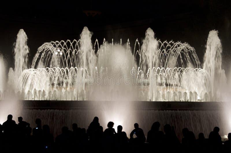 Света фонтана в Барселона стоковое изображение rf