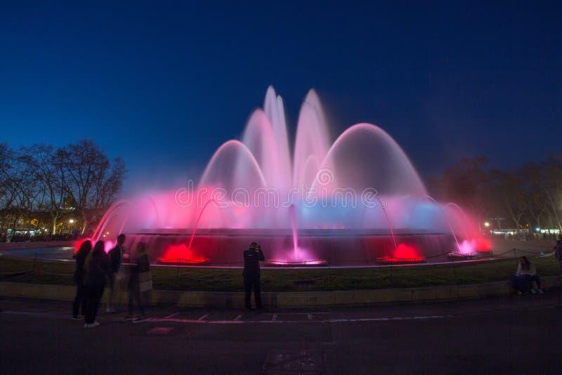 света фонтана barcelona стоковое изображение