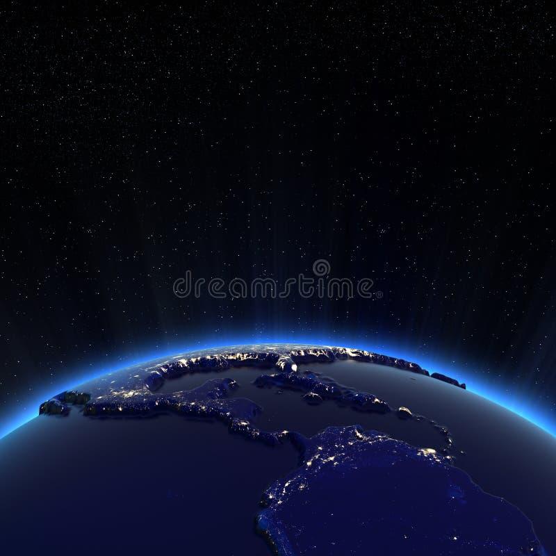 Света Центральной Америки и города США на ноче иллюстрация вектора