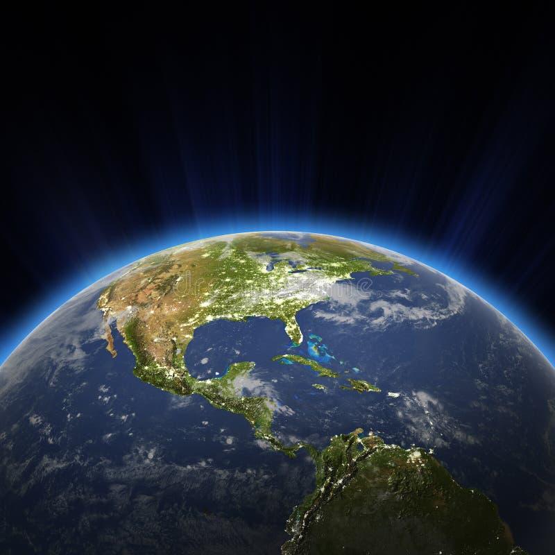Света Центральной Америки и города США на ноче иллюстрация штока