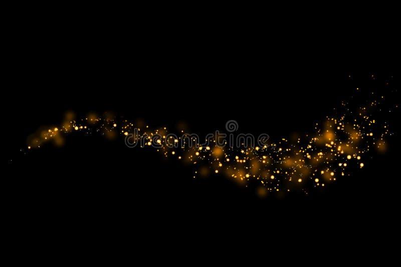Света частиц яркого блеска золота отстают и bokeh на черной предпосылке Абстрактная линия текстура искры иллюстрация вектора