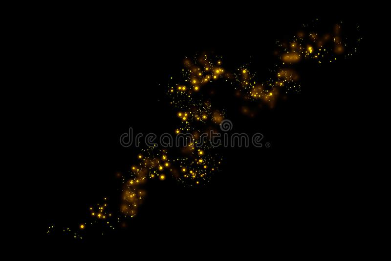 Света частиц яркого блеска золота отстают и bokeh на черной предпосылке Абстрактная линия текстура искры бесплатная иллюстрация