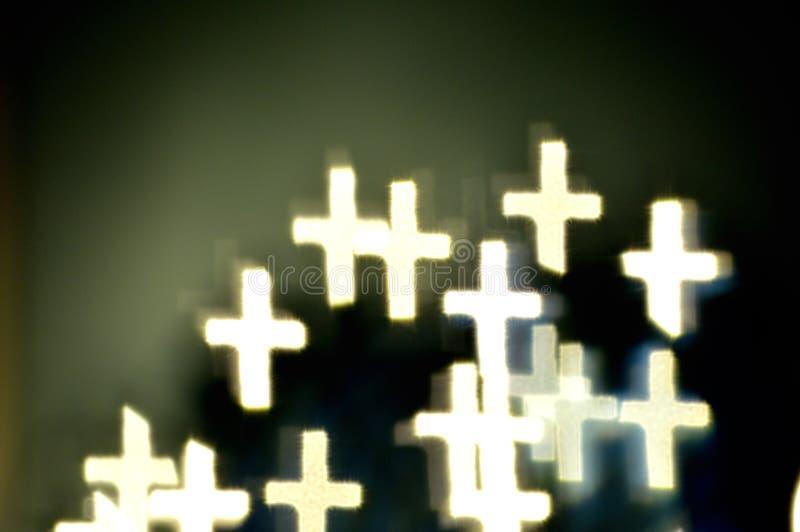 Света Bokeh сформированные как кресты стоковое фото