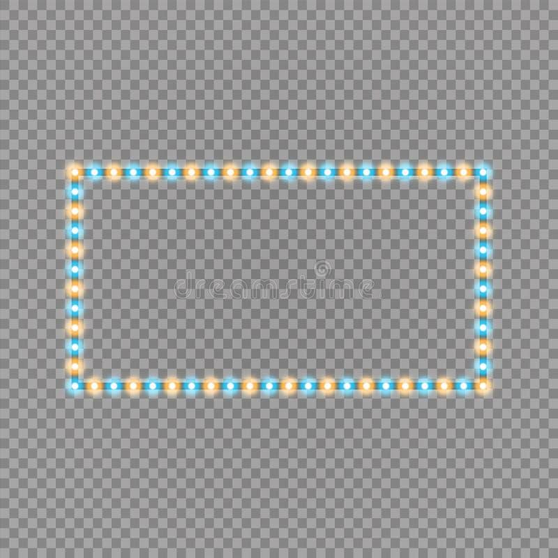 Светить голубым и желтым рамкам приведенным прямоугольника вектора, неоновое освещение на прозрачной предпосылке Накалять декорат иллюстрация штока
