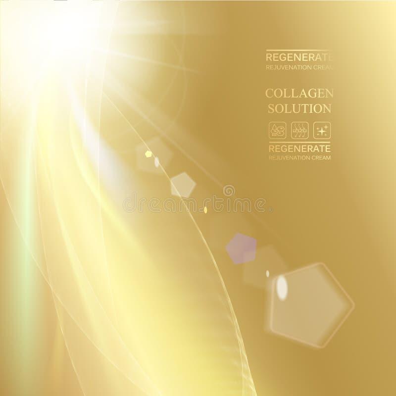Светить луча Солнца верхняя часть изображения над золотой предпосылкой градиента иллюстрация штока