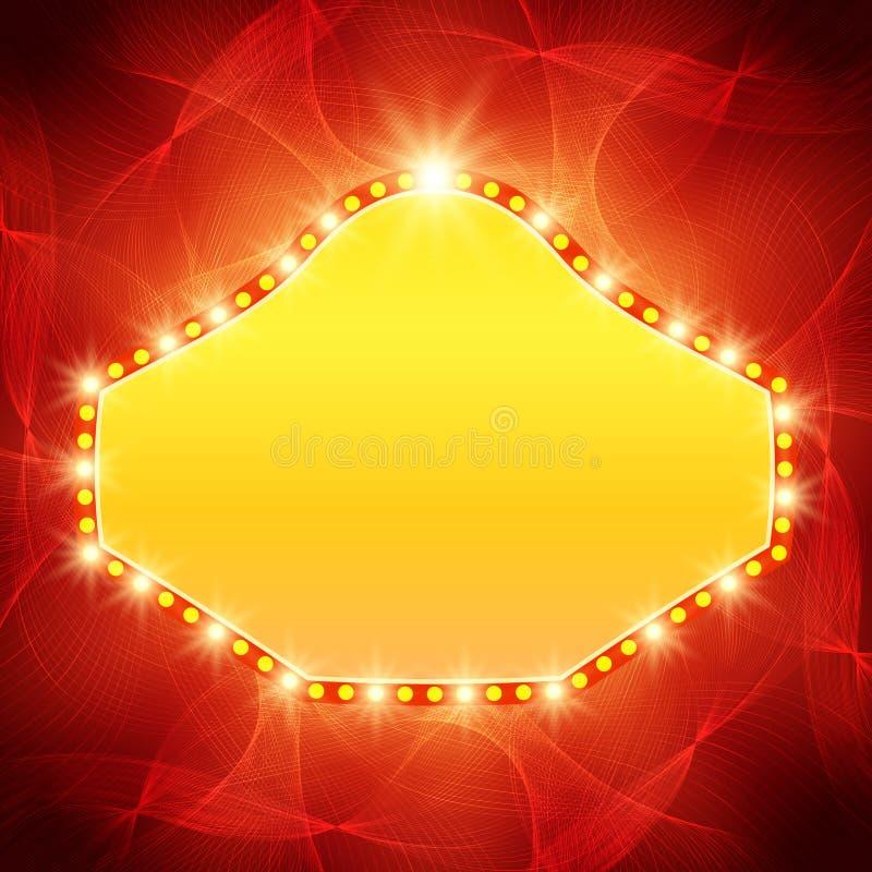 Светить развевает предпосылка с ретро знаменем света казино иллюстрация штока