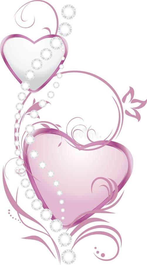 Светить серебряным и розовым сердцам с диамантами иллюстрация вектора
