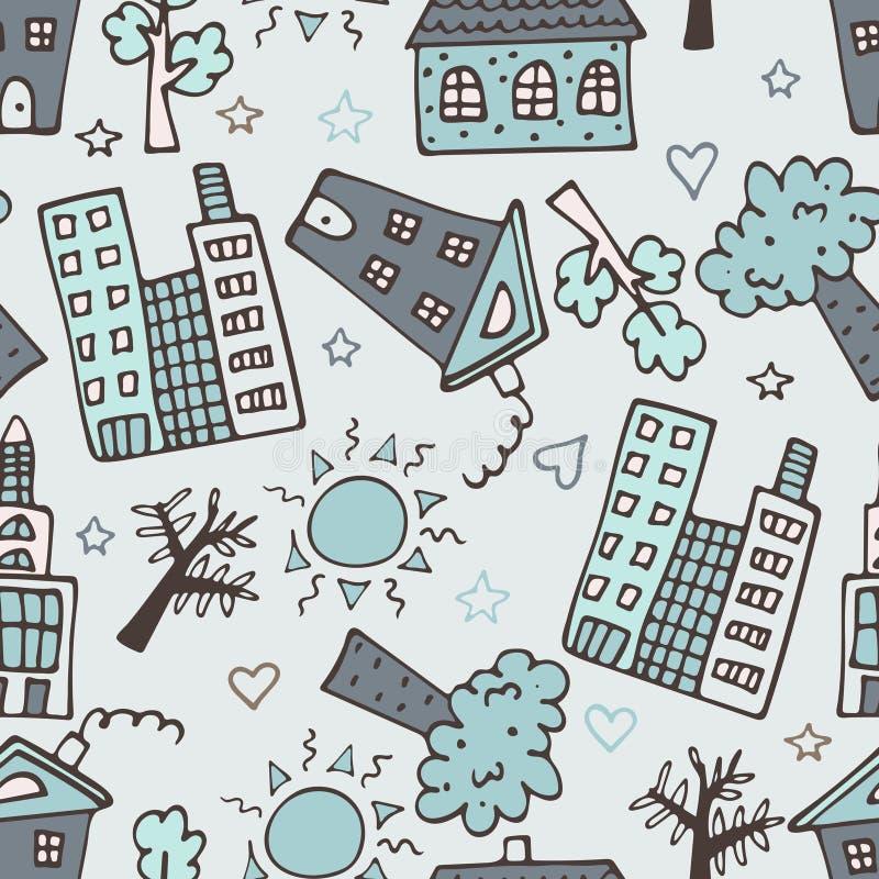 Светлая безшовная картина с небоскребами, домами и деревьями иллюстрация штока