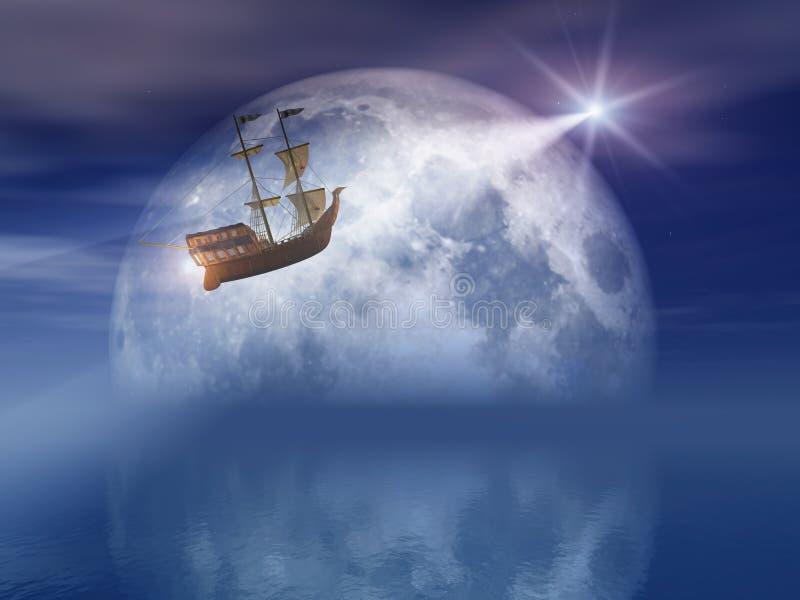 светлая звезда корабля луны иллюстрация вектора