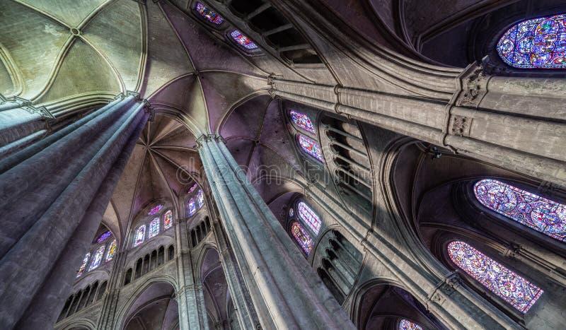 Светлая и органическая структура в соборе Буржа стоковые изображения rf