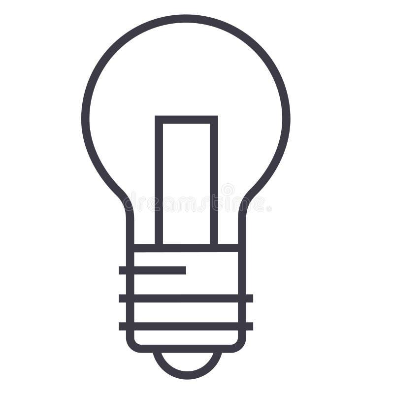 Светлая линия значок вектора лампы, знак, иллюстрация на предпосылке, editable ходах иллюстрация вектора