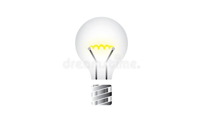 Светлое будущее концепции шарика белого света светя - символ энергии и идеи - творческое иллюстрация штока