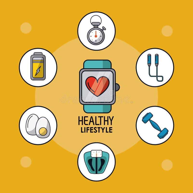 Светлооранжевый плакат здорового образа жизни с контролем пульсирования часов и здоровых значков вокруг иллюстрация штока