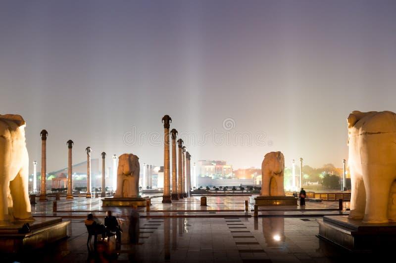 Светлые столбцы и штендеры на ноче Ambedkar паркуют стоковое фото rf