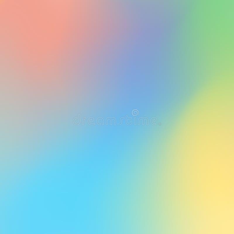 Светлый - голубая запачканная предпосылка с пятном апельсина, желтых и зеленых запачканным иллюстрация вектора