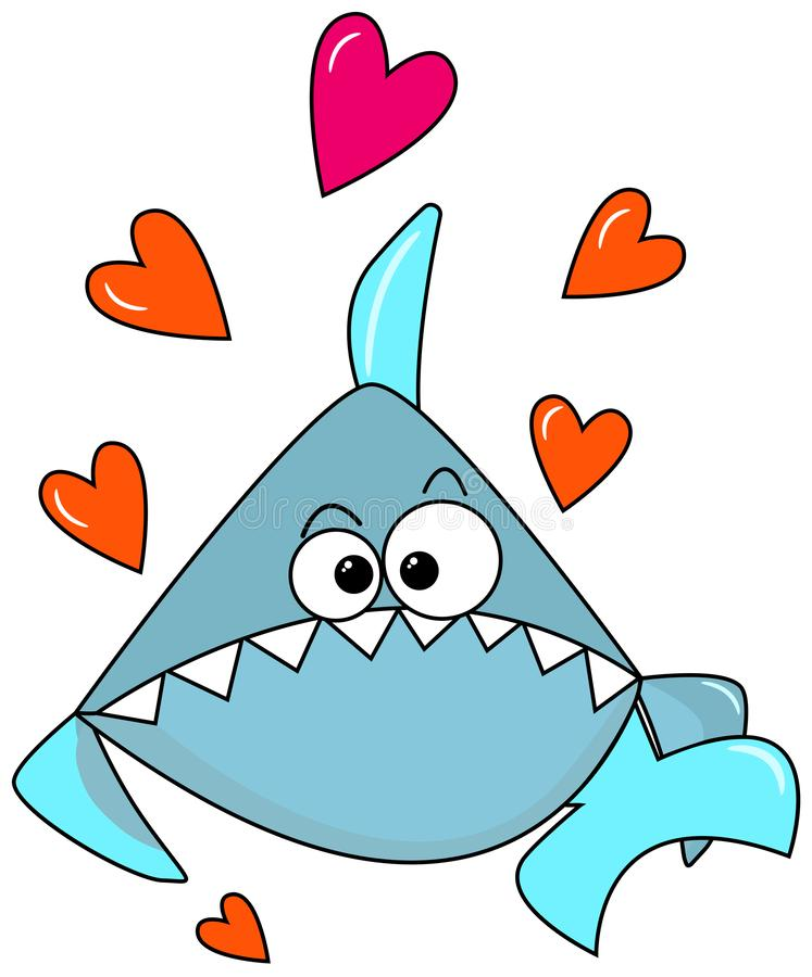 Светлый - голубая прекрасная акула на белой предпосылке с оранжевыми сердцами Поздравления на день валентинок шарж милый иллюстрация вектора