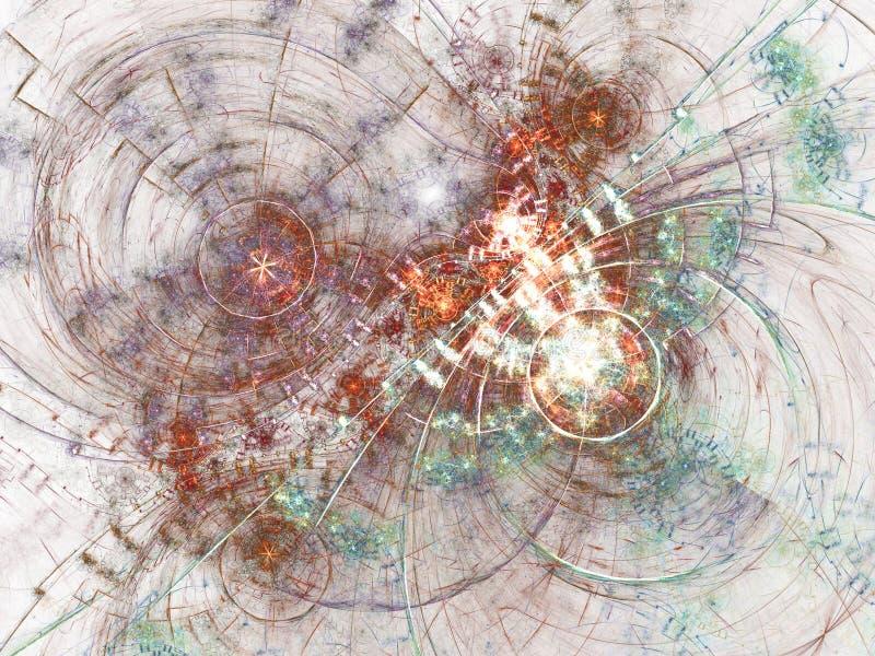 Светлый красочный clockwork фрактали иллюстрация штока