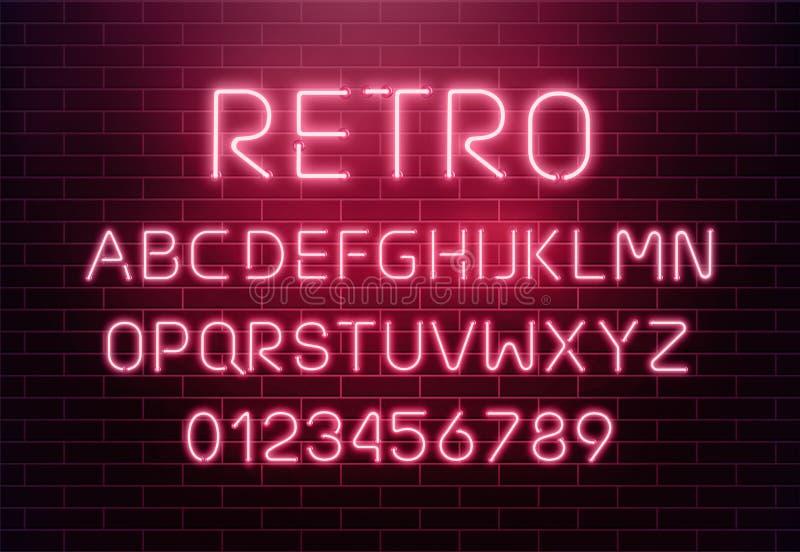 Светлый неоновый комплект письма шрифта Тип вектора знака бара Накаляя алфавит текста казино и кино красный на предпосылке кирпич иллюстрация вектора