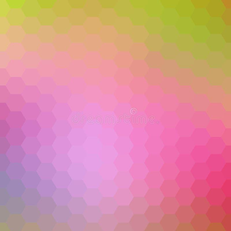 Светлый - пинк, желтая текстура вектора с красочными шестиугольниками Иллюстрация покрашенных шестиугольников на белой поверхност бесплатная иллюстрация