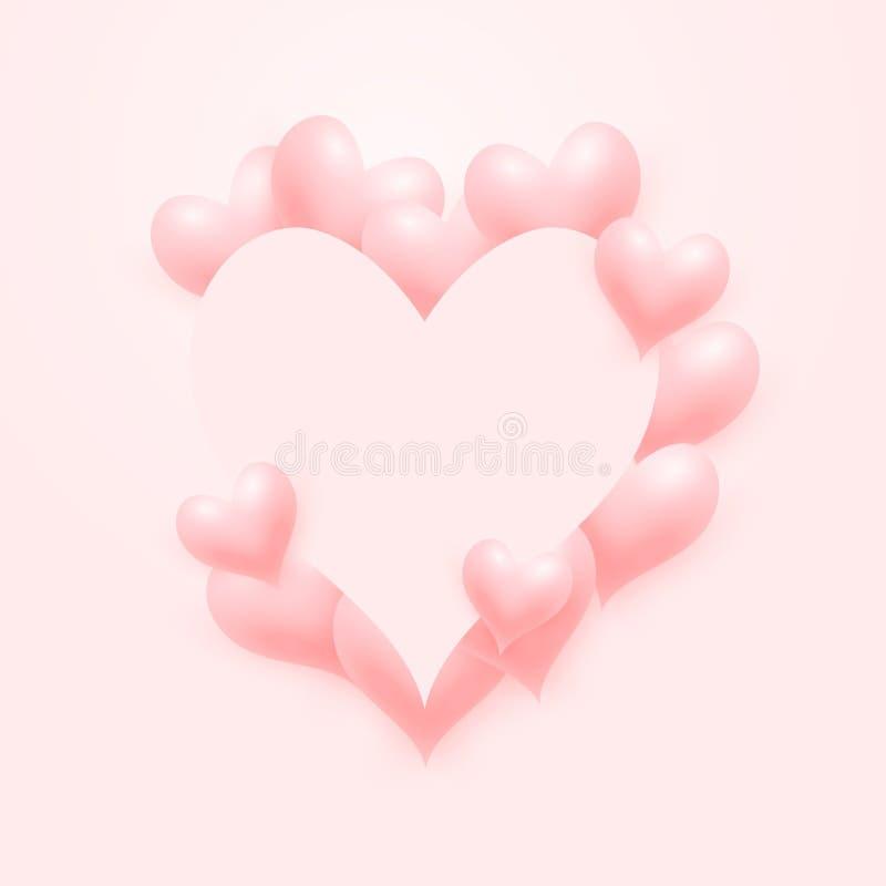Светлый - розовая предпосылка Валентайн сердец любов иллюстрация вектора
