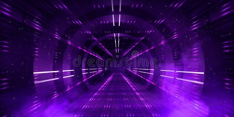 Светлый тоннель, темный длинный коридор с неоновыми лампами Абстрактная пурпурная предпосылка с дымом и неоновыми светами стоковые изображения rf