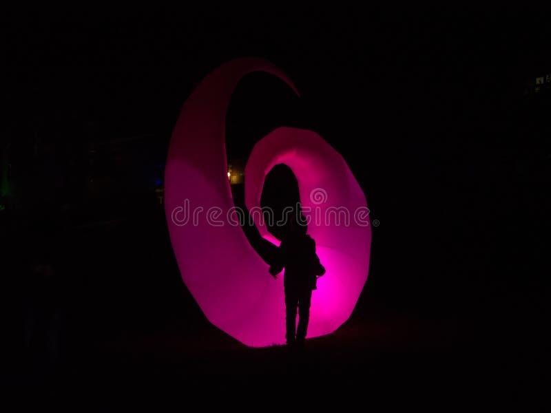 Светлый фестиваль Lichtermeer, Вильгельмсхафен, Германия стоковое фото rf