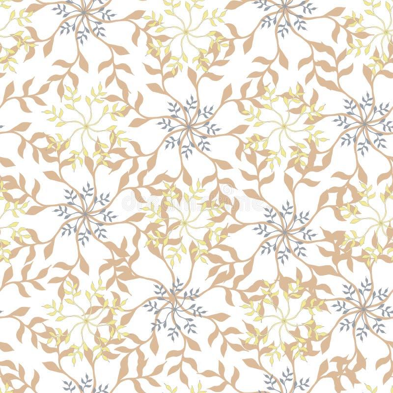 Светлый цветочный узор Флористический орнамент в бежевых цветах на белой предпосылке Безшовная текстура для вашего дизайна иллюстрация штока