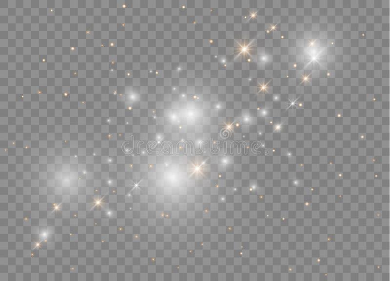 Световой эффект белого яркого блеска искр особенный Вектор сверкнает на прозрачной предпосылке Сверкная волшебные частицки пыли иллюстрация вектора
