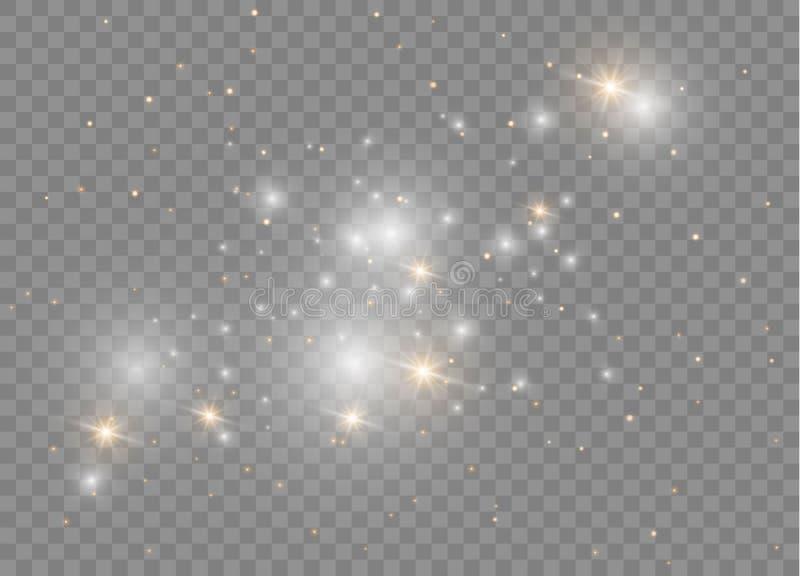 Световой эффект белого яркого блеска искр особенный Вектор сверкнает на прозрачной предпосылке Сверкная волшебные частицки пыли иллюстрация штока