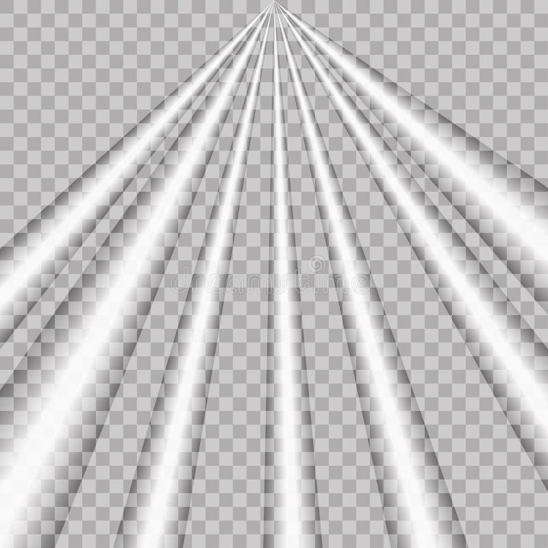 Световой эффект вектора лучей на прозрачной предпосылке Освещение сцены с репроекторами Белый накаляя светлый взрыв Fl иллюстрация штока
