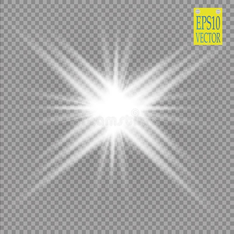 Световой эффект зарева Взрыв звезды с Sparkles солнце Конспект неоновых свет энергии силы космический иллюстрация вектора