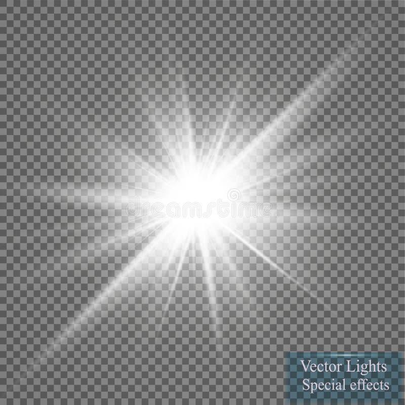 Световой эффект зарева Starburst с sparkles на прозрачной предпосылке также вектор иллюстрации притяжки corel