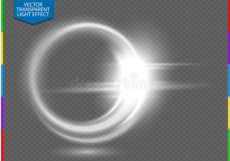 Световой эффект кругового пирофакела объектива прозрачный Прозрачность в дополнительном формате только иллюстрация вектора